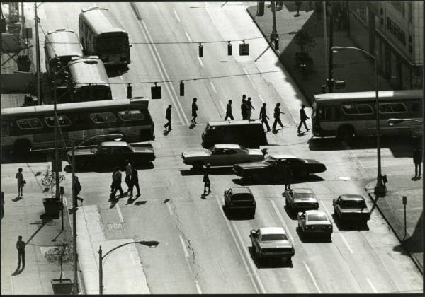 Overhead view of busy intersection