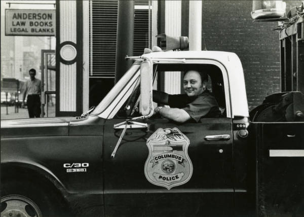 Police tow truck driver photograph