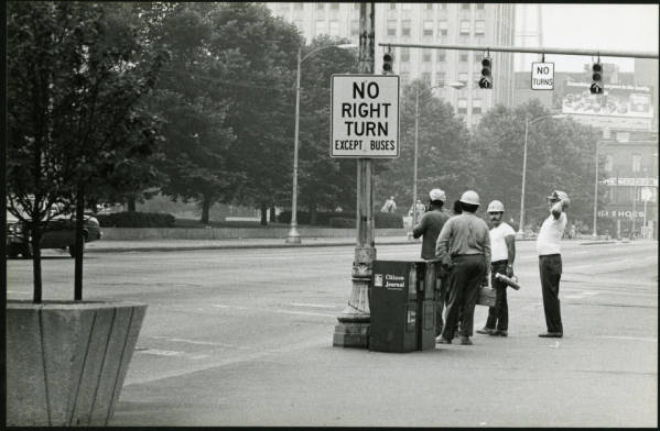Construction workers downtown photograph