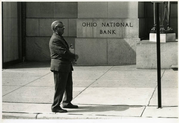 Man in front of Ohio National Bank