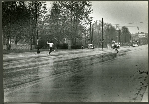 Crossing High Street during Ohio State-Michigan football game
