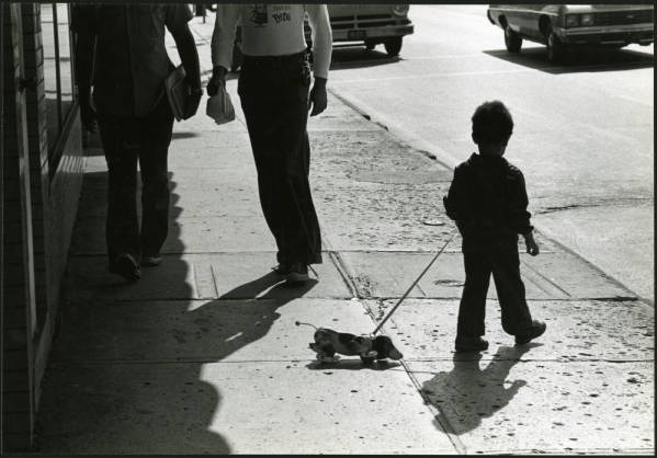 Young boy with pull-toy