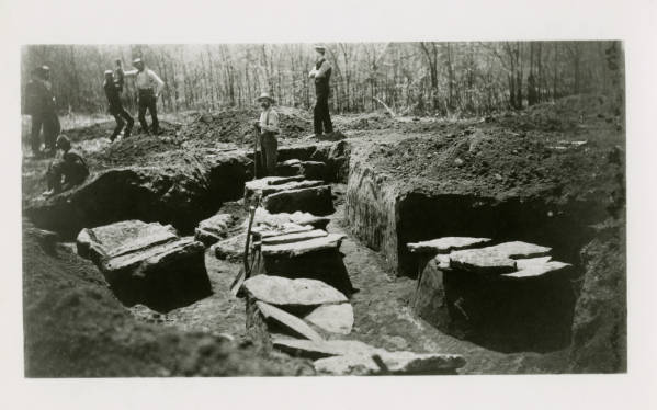 Burial excavation at Fort Ancient