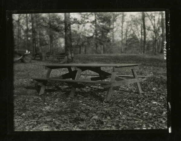 Picnic table at Fort Ancient photograph