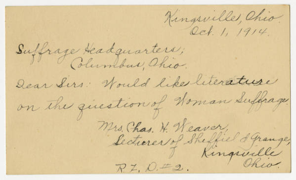 Mrs. Chas H. Weaver postcard to Franklin County Woman Suffrage Association, October 1, 1914