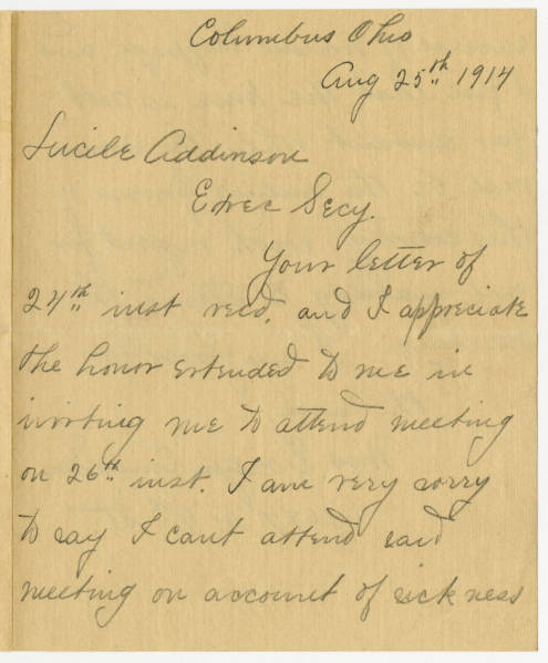 Evelyn Canada letter to Lucile Atcherson, August 25, 1914