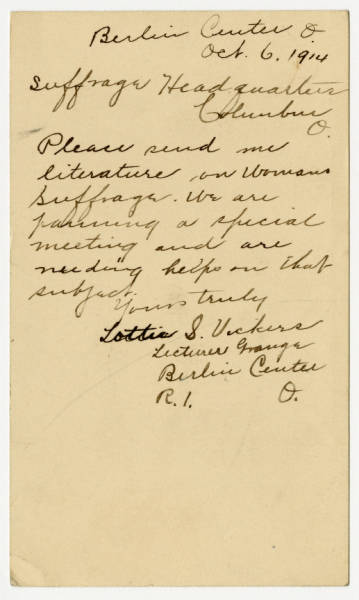 Lottie S. Vickers postcard to Franklin County Woman Suffrage Association, October 6, 1914