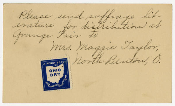 Mrs. Maggie Taylor postcard to Franklin County Woman Suffrage Association, September 24, 1914