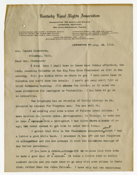 Madeline McDowell Breckinridge letter to Lucile Atcherson, August 25, 1914