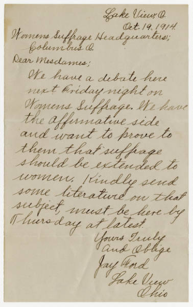Jay Ford letter to Franklin County Womans Suffrage Association, October 19, 1914