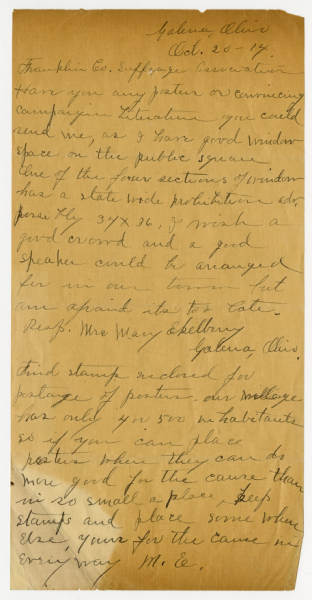 Mrs. Mary Ekelberry letter to Franklin County Woman Suffrage Association, October 20, 1914