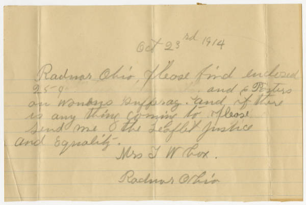 Mrs. T. W. Cox letter to Franklin County Woman Suffrage Association, October 23, 1914