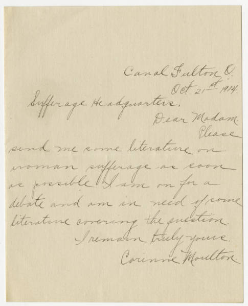 Corinne Moulton letter to Franklin County Woman Suffrage Association, October 21, 1914