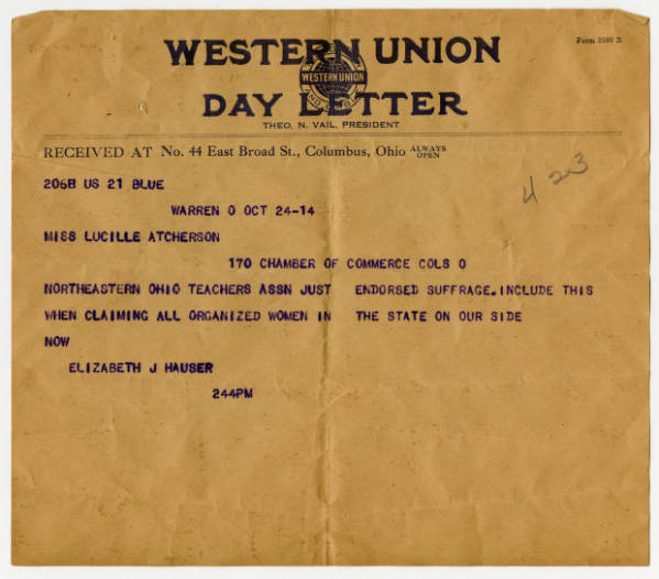 Elizabeth J. Hauser telegram to Lucile Atcherson, October 24, 1914