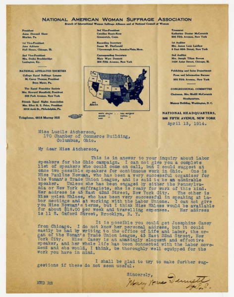 Mary Ware Dennett letter to Lucile Atcherson, April 13, 1914