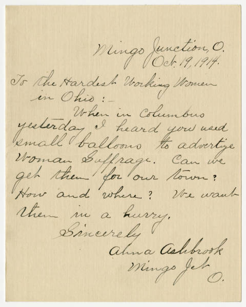 Alina Ashbrook letter to the Franklin County Woman Suffrage Association, October 19, 1914