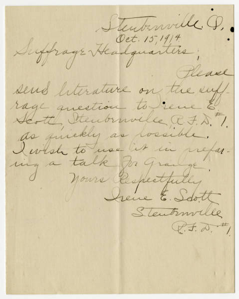 Irene E. Scott letter to Franklin County Woman Suffrage Association, October 15, 1914