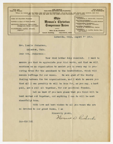 Florence D. Richard letter to Lucile Atcherson, August 7, 1914