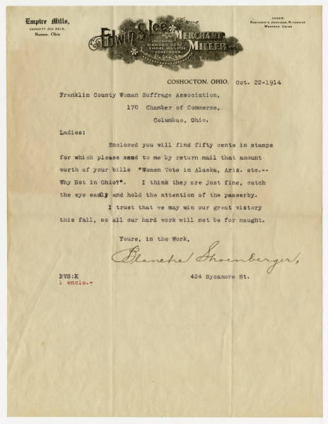 Blanche Shoenberger letter to the Franklin County Woman Suffrage Association, October 22, 1914