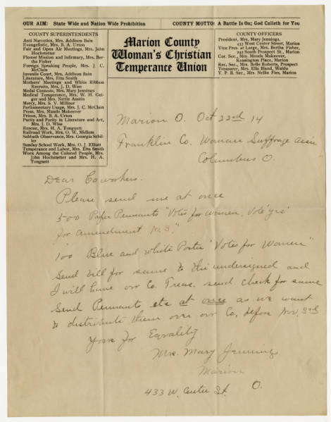 Mary Jennings letter to Franklin County Woman Suffrage Association, October 22, 1914