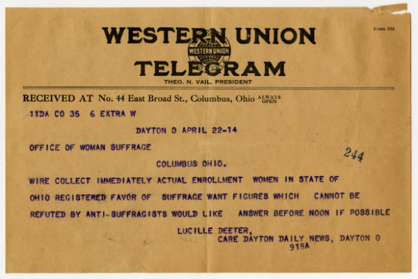 Lucille Deeter telegram to Franklin County Woman Suffrage Association, April 22, 1914