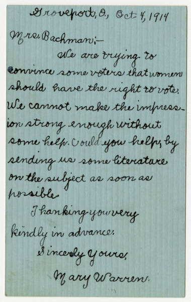 Mary Warren letter to Mrs. Bachman, October 4, 1914
