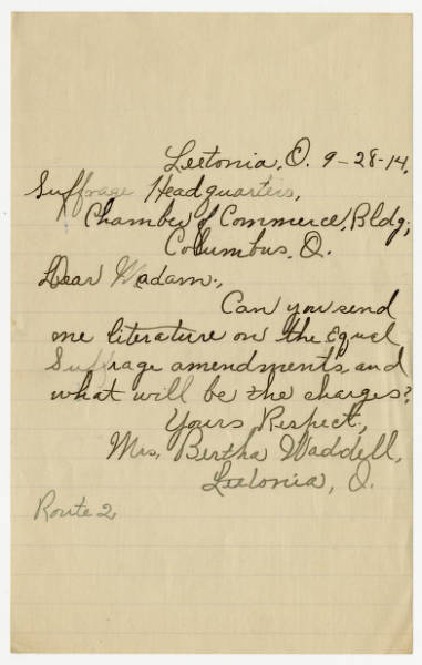 Bertha Waddell letter to Franklin County Woman Suffrage Association, September 28, 1914