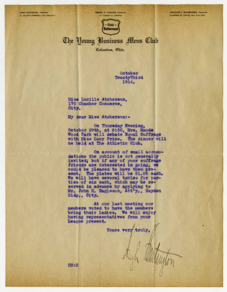 Hugh Huntington letter to Lucile Atcherson, October 23, 1914