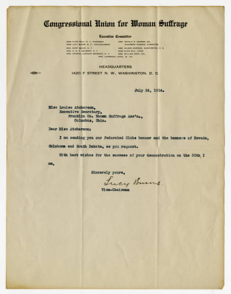 Lucy Burns letter to Lucile Atcherson, July 24, 1914