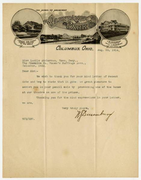 Will J. Dusenbury letter to Lucile Atcherson, August 23, 1914