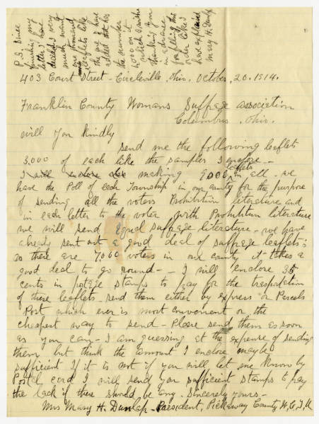 Mary H. Dunlap letter to Franklin County Woman Suffrage Association, October 20, 1914