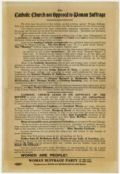 'Catholic Church not Opposed to Woman Suffrage' broadside