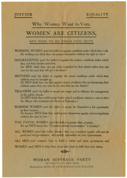 'Why Women Want to Vote' broadside