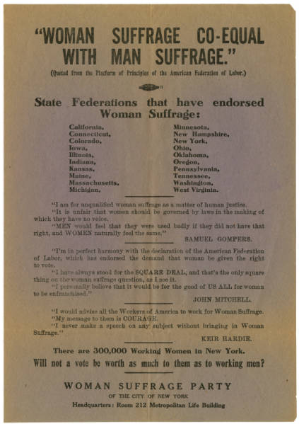 'Woman Suffrage Co-Equal with Man Suffrage' broadside