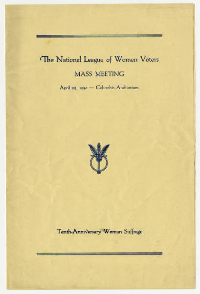 National League of Women Voters meeting program