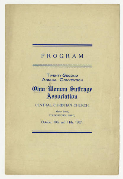 Ohio Woman Suffrage Association 1907 convention program