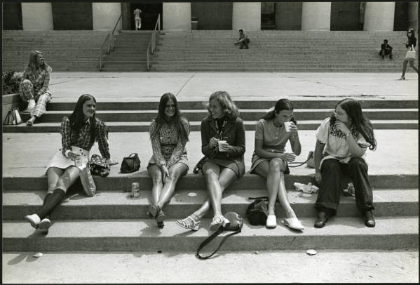 Young women on Statehouse steps