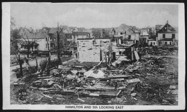Destroyed homes following 1924 Lorain tornado