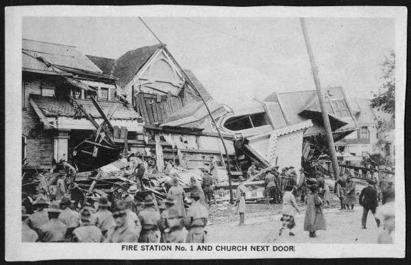 Fire station and church following Lorain tornado