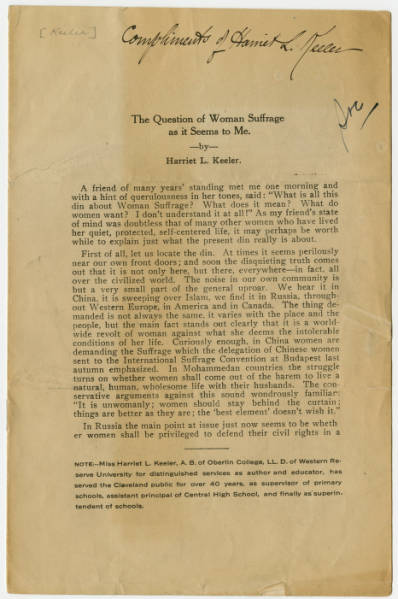 'Question of Woman Suffrage' pamphlet