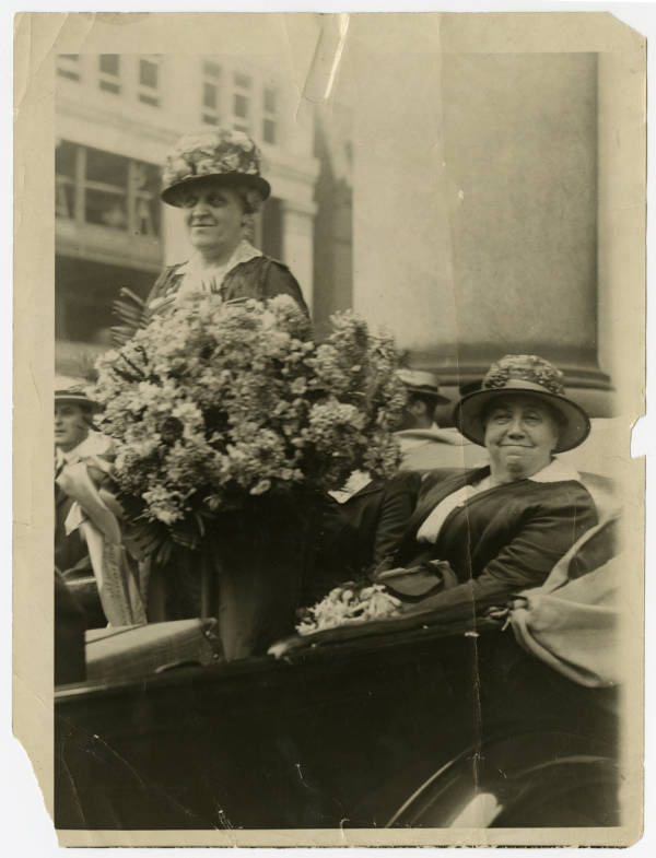 Carrie Chapman Catt and Harriet Taylor Upton in parade