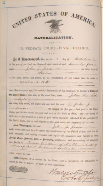 Licking County Probate Court Naturalization Records