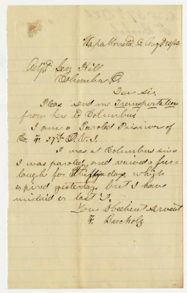 F. Bucholz letter to Adjutant General, August 13, 1862