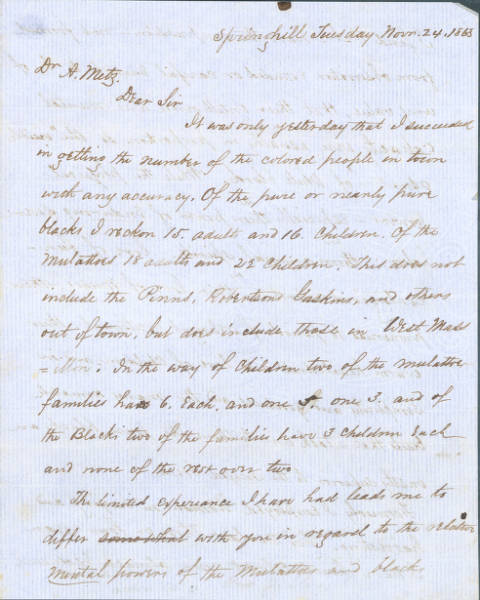Arvine C. Wales Letter to Dr. A. Metz regarding African Americans in Massillon, Ohio