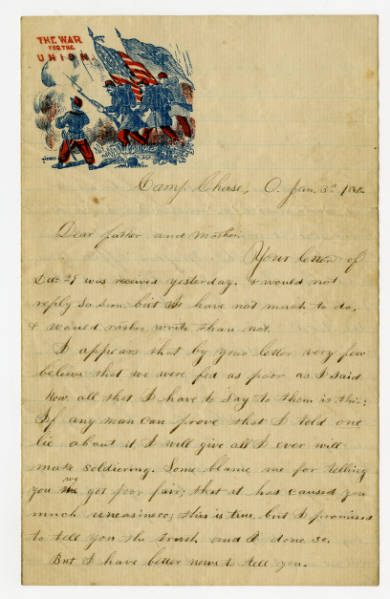 Harrison Kerr letter to parents, January 3, 1862