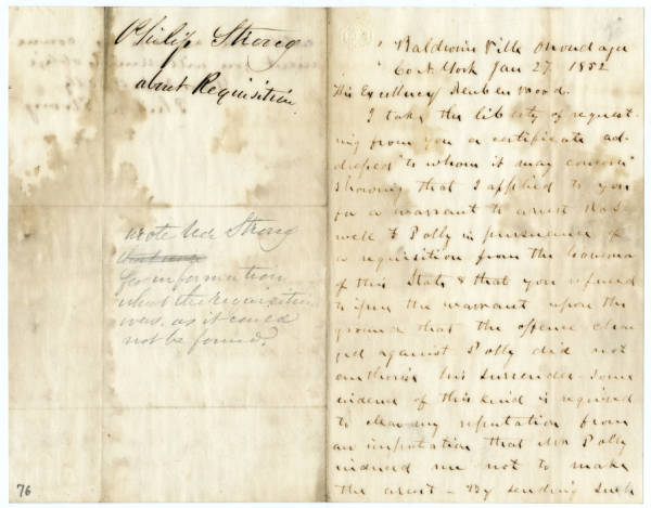 Philip Strong letter to Reuben Wood, January 27, 1852