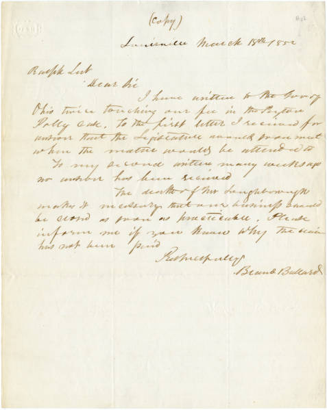 Bland Ballard letter to Ralph Leete, March 18, 1852