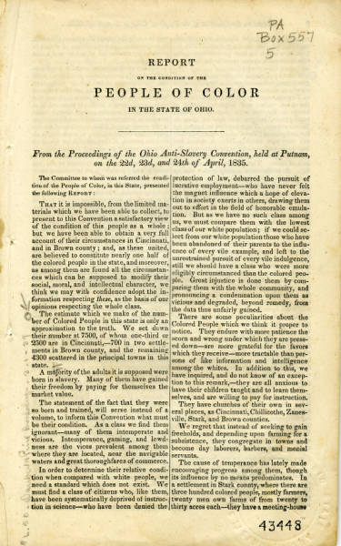 'Report on the Condition of the People of Color' pamphlet