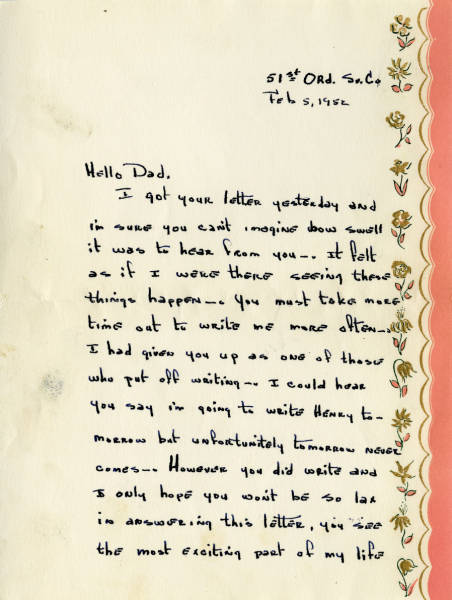 Henry Adams, Jr. letter to father, February 5, 1952