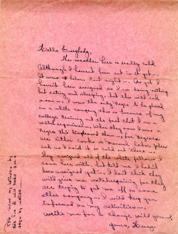 Henry Adams, Jr. letter to family, December 1951